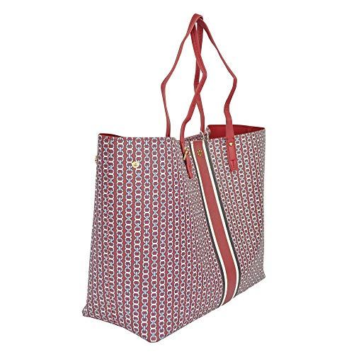 Tory Burch Gemini Link Tote Textured coated canvas (Redstone)