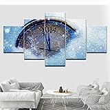 cxtnt Pintura sobre lienzo Reloj de agua Imágenes de arte de pared 5 piezas Fondos de pantalla modulares Impresión de póster para sala de estar Decoración del hogar