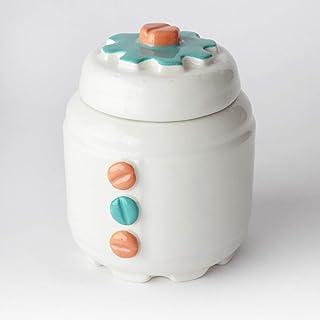 Azucarero de Cerámica Artesanal, Más colores disponibles, diseño mecánico con engranajes y tornillos - h 10,5 x Ø 8cm (Nar...
