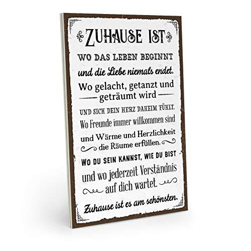 ARTFAVES Holzschild mit Spruch - ZUHAUSE IST ES AM SCHÖNSTEN - Vintage Shabby Deko-Wandbild/Türschild
