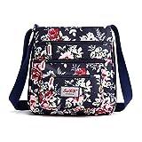 Women's Crossbody Bag Nylon Floral Multi Pocket Shoulder Purse Work Travel Shopping Satchel Bags (D)