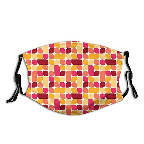 Usicapwear Fashion 3D Face Protect Printed Gesichts-Mundschutz,Bauhaus Style Inspired Geometric Asymmetric Retro Pattern with Pastel Colors Print