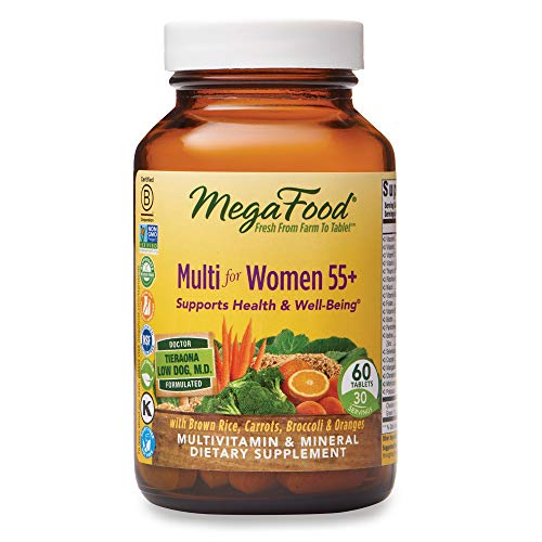 MegaFood, Multi for Women 55+, Supports Optimal Health and Wellbeing, Multivitamin and Mineral Dietary Supplement, Gluten Free, Vegetarian, 60 Tablets (30 Servings)
