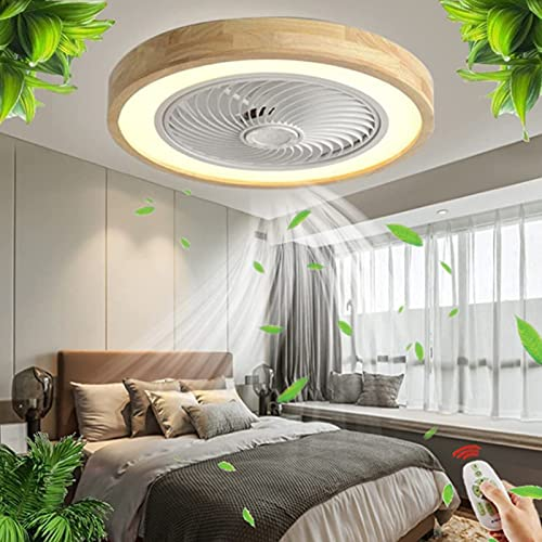 Ventilador De Techo LED De Madera con Iluminación Ventilador Moderno Luz De Techo con Ventilador Regulable Dormitorio Sala De Estar Silencioso con Control Remoto Luz De Techo Lámpara A