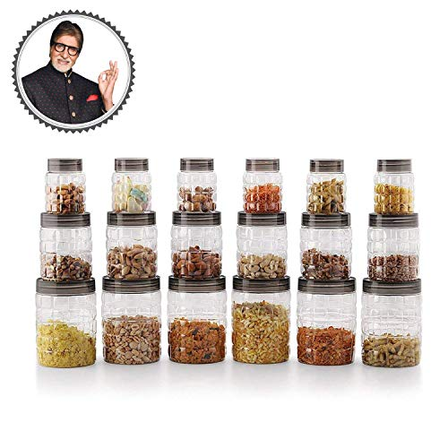 Cello Checkers Plastic PET Canister Set, 18 Pieces, Clear 2