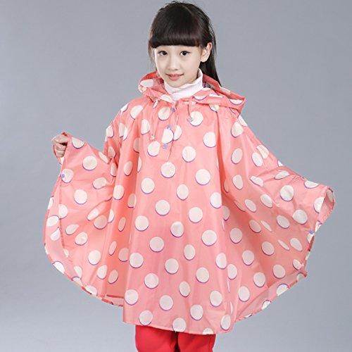 Vestes anti-pluie QFF Raincoat Enfant Girl Student Poncho Boy imperméable imperméable Cape Clocher (Couleur : Rose, Taille : M)