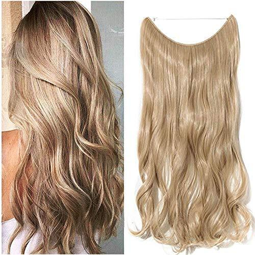 Haarteil Extensions mit Unsichtbarer Draht Haarverlängerung 1 Tresse Haare Gewellt Dark Blonde Mix Bleichblond Wavy-20