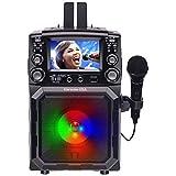 Karaoke USA Máquina de karaoke portátil con pantalla TFT a color de 4,3 pulgadas, Bluetooth, función de grabación, PA y batería incorporada (GQ450)