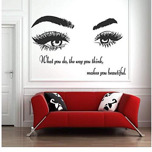 MINGKK - Adhesivo decorativo para pared, diseño de pestañas, cejas, cejas, cejas, salón de belleza, pegatinas, ojos citas, maquillaje, decoración 56 x 88 cm