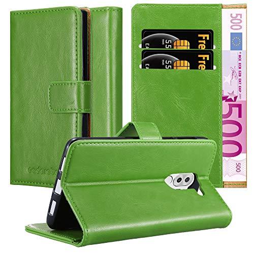 Cadorabo Hülle für Honor 6X in Gras GRÜN – Handyhülle mit Magnetverschluss, Standfunktion & Kartenfach – Hülle Cover Schutzhülle Etui Tasche Book Klapp Style
