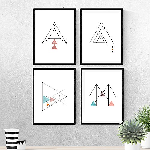 Nacnic Set de 4 láminas para enmarcar Trazo Fino. Posters Estilo nórdico con triángulos para la decoración del hogar. Tamaño A4