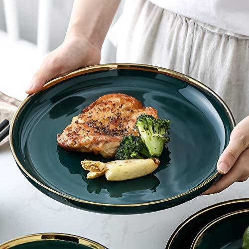 European Ceramic Plate Dinner Set Gold Inlay Porcelain Dessert Steak Salad Snack Rice Soup Big Bowl Cake Plate Tableware Tray