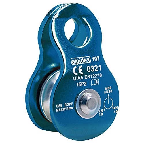 ALPIDEX Seilrolle Umlenkrolle 20 kN - geeignet für Seile bis 11 mm Durchmesser - EN12278, Farbe:Blue