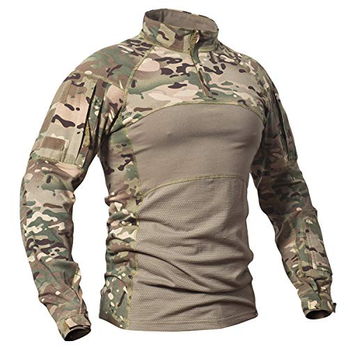 CARWORNIC Men's Tactical Assault Combat Shirt Long Sleeve Military Uniform
