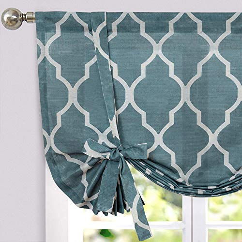 JINCHAN Linen Valances for Windows Kitchen Curtains Tie Up Valance Ballon Shade for Living Room Moroccan Tile Farmhouse Rustic Bedroom Bathroom Valance 45 Inch Adjustable Length Blue 1 Panel
