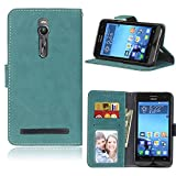 Zl One Matting PU Leather Protection 3 Card Slots Wallet Flip Case Cover for Asus ZenFone 2 ZE550ML Deluxe ZE551ML 5.5inch (Blue)