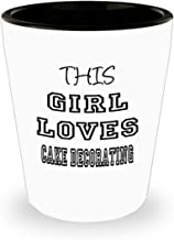 Funny Cake decorating Gifts White Ceramic Shot Glass - This Girl Loves - Best Inspirational Gifts and Sarcasm ak6770