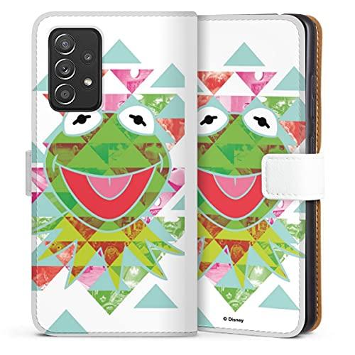 DeinDesign Klapphülle kompatibel mit Samsung Galaxy A52s 5G Handyhülle aus Kunst Leder weiß Flip Hülle Disney Muppets Frosch
