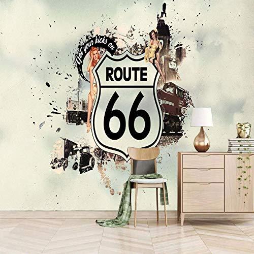 SUUKLI Carta Da Parati Moderna - Retrò Route 66 250X175Cm Astratta Autoadesivo Fotomurale Tessuto Non Tessuto Soggiorno - Camera Salotto Cucina Bagno Wallpaper Poster Gigante