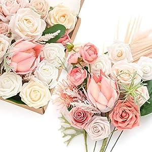 Ling's moment Doux Protea Artificial Flowers Combo for Wedding Bouquets Centerpieces Flower Arrangements Decorations