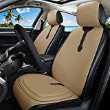 Tan Leather Seat Covers Universal Front Seat Covers + Premium All Gel Seat Cushion for Car/Trucks/Office Chair 7PCS Auto Seat Covers Set (C-Tan) -  Haihong