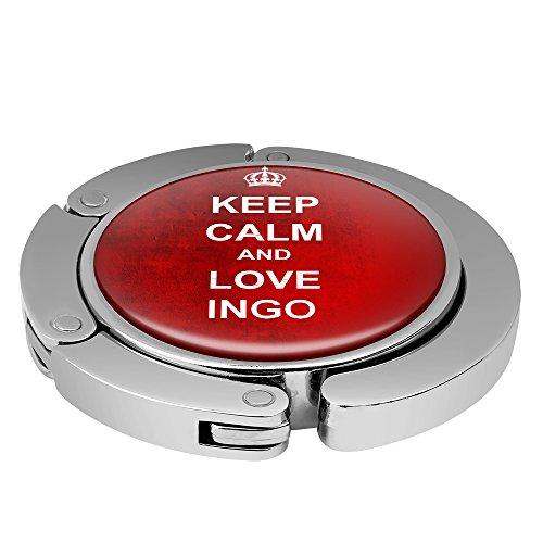 Taschenhalter Keep Calm Personalisiert mit Namen Ingo printplanet Chrom