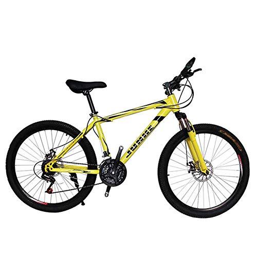 WEHOLY Vélo pour Hommes 'Mountain Bike', Cadre en Acier de 17 ', fourches de Suspension Avant à Amortisseur arrière entièrement réglables à 21/24/27/30 Vitesses, Jaune, 21 Vitesses