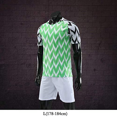 Camiseta De Local De La Copa Mundial De 2018 De Los Hombres De 160 A 195 Cm De Adultos Atleta del Equipo De Fútbol Transpirable Verde, Anti-Arrugas Juego De La Camisa De Estrés,L#178to184cm