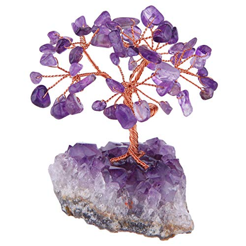 mookaitedecor Amethyst Crystal Tree, Amethyst Cluster Crystals Base Bonsai Money Tree for Wealth and Luck