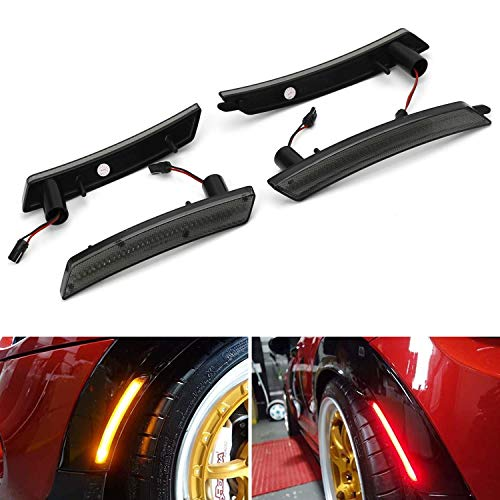 iJDMTOY Smoked Lens Amber/Red Full LED Side Marker Light Kit Compatible With 2007-2013/14 MINI Cooper R55 R56 R57 R58 R59 R60 R61, Powered by Total 160-SMD LED, Replace OEM Sidemarker Lamps