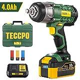 Llave de Impacto 4.0 Ah, TECCPO 350Nm Pistola de Impacto 18V, Mandril de 13 mm (1/2'), 3X Vasos de Impacto, Frecuencia de impacto 0-3000, Caja Compacta