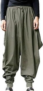 MU2M Men Cotton Linen Loose Solid Casual Drawstring Harem Jogger Pants