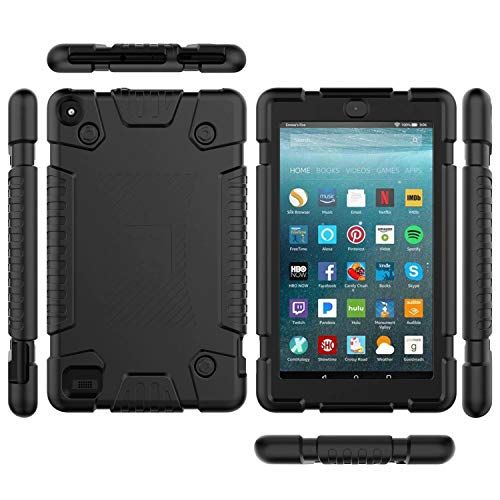 VMAE Kids Case for All-New Amazon Fire 7 Tablet (9th Gen, 2019 Release), Heavy Duty Armor Kids Friendly Shockproof Soft Silicone Protective Cover for Amazon Fire 7 2019, Black