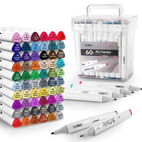 60 Colors Alcohol Art Markers Set, Dual Tips Permanent Artist Coloring Drawing Markers Pen for Kids Adult Highlighter Pen Sketch Brush Markers with Case for Drawing Sketching Coloring Christmas Gifts