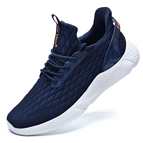 Slow Man Men's Supportive Running Shoes Cushioned Lightweight Athletic Sneakers Navy,6.5
