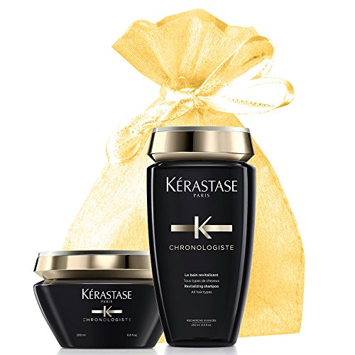 Kerastase Chronologiste Shampoo and Mask Set for All Hair Types (Chronologiste Bain & Mask) in an Exquisite Giftbag