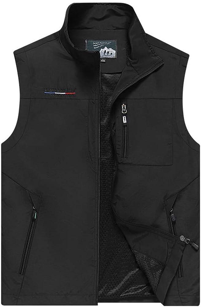 Mens Work Vest Summer Travel Photo Vest Cargo Sleeveless Jackets with Pockets