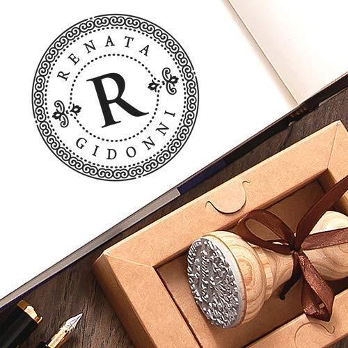 Stempel Initialen Monogramm Personalisiert, Stempel Individueller Text Name Holz Rund Dekorative Rahmen Bordüre, Einzigartige Kraft Geschenkbox