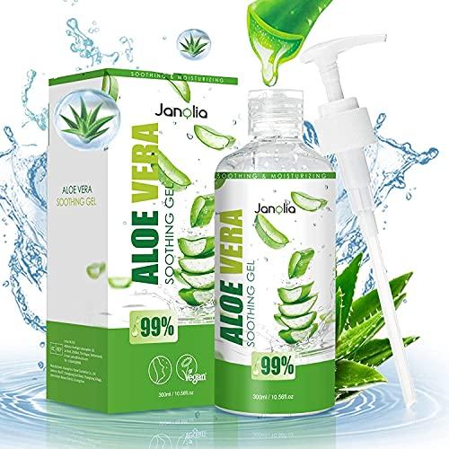 Janolia Gel Aloe Vera, 300ML Aloe Vera Bio Crème Hydratante Naturelle, Masque Facial Soothing & Moisture Gel de Beauté pour le visage, le corps, les coups de soleil et la peau sèche