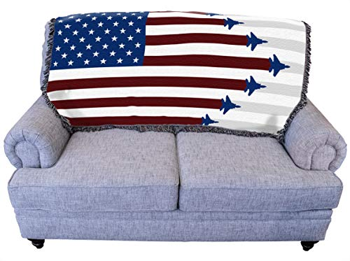 Fighter Jets American Flag Blanket Throw
