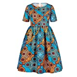 MomentDAY Summer Dress 7-12 Years Children Baby Big Kids Girl African Style Totem Printing Short Sleeve Lovely Skirt (Sky Blue, 7-8 Years)