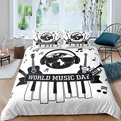 WPHRL Juego de Ropa de Cama de Fundas nórdica Piano de guitarra blanco negro creativo simple Impreso Juego de Fundas nórdicas Hipoalergénico 3 Piezas Funda nórdica de Microfibra con cierr Super King (