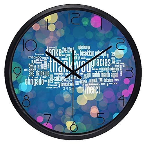 Horloge Murale Merci Horloge Murale Thanksgiving Day Cadeau Grande Boutique en Verre Horloge 12 Pouces B214B