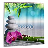 ZHENG Rideau de Douche décoratif de Salle de Bain,orchidée de Sable et Pierres de Massage dans Le Jardin Zen Sunny Day Meditation Yoga Rideaux de Bain en Tissu avec Crochets 72x72in