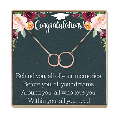 Graduation Gift Necklace for Girls: College, High School, Elementary, Senior, 2 Asymmetrical Circles (rose-gold-plated-brass, NA)
