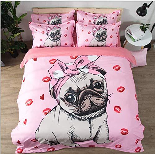 HDBUJ dekbedovertrek van cartoon, 3D-print, schattige puppy met strik, twee bijpassende kussenslopen, eenpersoonsbed, roze