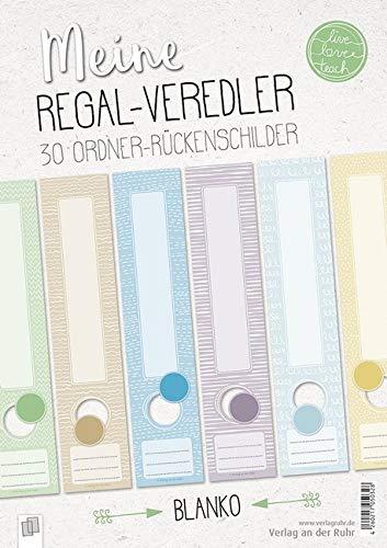"""Meine Regal-Veredler """"live - love - teach"""": 30 Ordner-Rückenschilder - alle Fächer - blanko"""