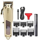 Cortadora de cabello para hombres, cortadora de cabello profesional para salón, juego de herramientas de corte de cabello inalámbrico de metal completo, máquina para estilistas y barberos, con 6 peine