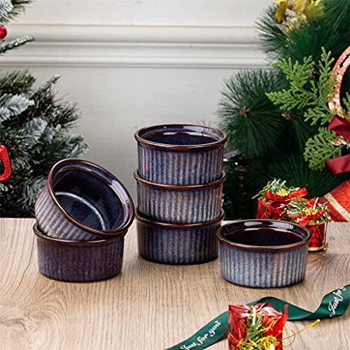 SHYPT Cocción redonda azul de 6 piezas Ramekins Platos Set de 190 ml Crema de gres/Brulee/Souffle/Queso/Torta, Caja fuerte del horno