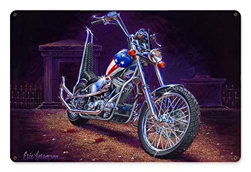 None Brand - Cartello in metallo Easy Rider Capitan America Moto Man Caverna Man Cave Man Decor Garage Decor Wall Art